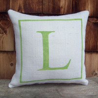 Burlap Initial Pillow - Decorative Pillow - Burlap Pillow - Other Colors Available - Custom Pillow