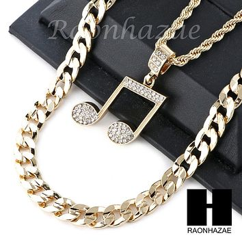 "MENS ICED OUT MUSIC NOTE PENDANT DIAMOND CUT 30"" CUBAN CHAIN NECKLACE SET G26"