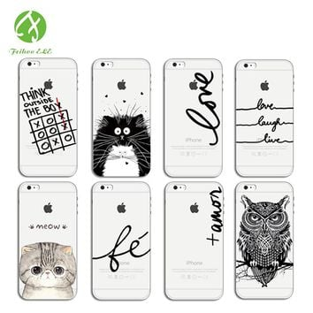 English letters Sprouting owl case For iphone 6 iphone 7 Phone Case painted TPU soft Mobile Phone Bag Case