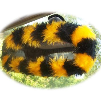 Bumble Bee stripey faux fur rear view interior mirror cover