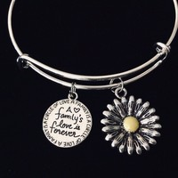 Sunflower A Families Love is Forever Adjustable Charm Bracelet Expandable Silver Bangle One Size Fits All Gift
