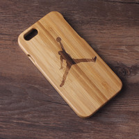 Real Natural Wooden Bamboo Basketball Gifts Jordan Pattern Iphone 6 4.7/ Iphone 6 Plus 5.5