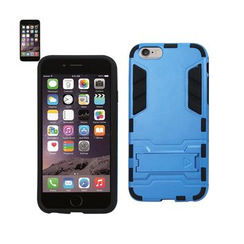 New Hybrid Metallic Case With Kickstand In Black Blue For iPhone 6 Plus By Reiko