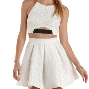 White Lace Cut-Out Crop Top & Skater Skirt Hook-Up by Charlotte Russe