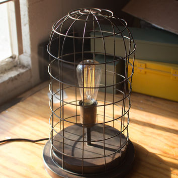 Wire Cage Desk Lamp Old Brass