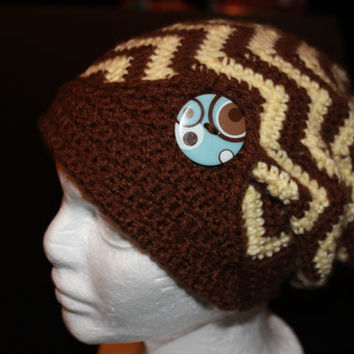 Womens Crochet Chevron Slouch Hat, zigzag slouchy beanie, Zig Zag Slouch Hat, Woman, Child, Winter, Fall, Crochet Slouchy Hat, Brown Cream