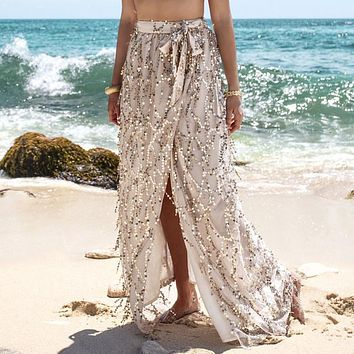 2016 Sequin Design Tassel Mesh Maxi Skirt Hi-lo Women Elegant Beach Summer Skirts Boho Long Skirts 2016 Summer Beachwear