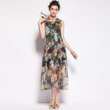 Fine Printed Sleeveless Slim Silk Maxi Dress