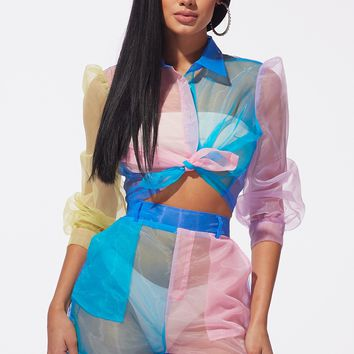 Sheer Me Out Color Block Organza Two Piece Set