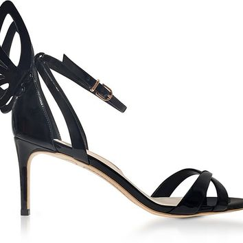 Sophia Webster Black Patent Leather Madame Chiara Mid-Heel Sandals