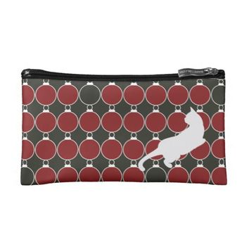 Red Christmas Ornament and Playful Cat Modern Chic Makeup Bag
