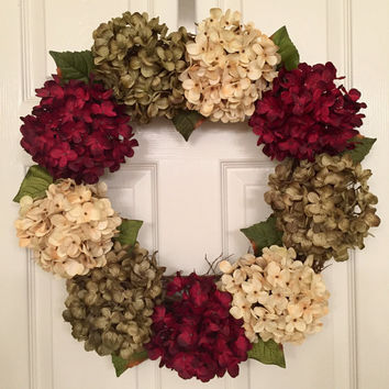 Holiday Hydrangea Wreath - Winter Wreath for Front Door - Red Holiday Wreath - Hydrangea Door Hanger - Door Decoration - Flower Door Wreath