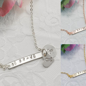 Breast Cancer Bar Heart Disc Necklace Bracelet Anklet Delicate Hand Stamped Jewelry