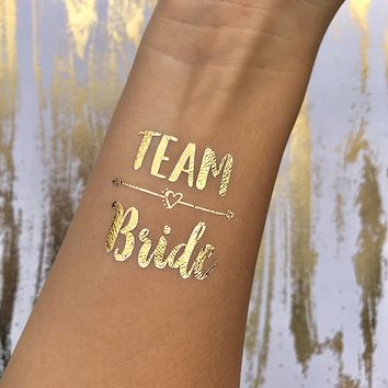 Pack of Team Bride + Bride Temporary Gold Foil Tattoos