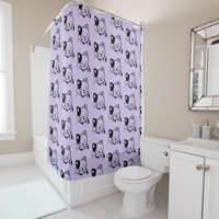 Cute Black and White Kitty Cat Waving Hello Shower Curtain