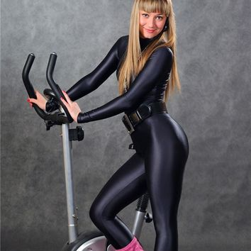 New Sexy Women Full Body Dance Wear One Piece Bodysuit Black Jumpsuit High Elastic Shiny Lycra Spandex Leotard FX1112