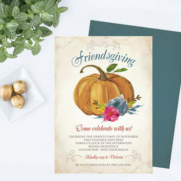 DIY Friendsgiving Invitation ~ Editable Text MS Word Template, Autumn Floral Pumpkin Printable Instant Download Invite Downloadable 5 x 7