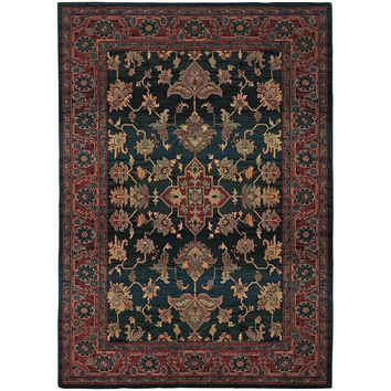 Kharma Blue Red Oriental Persian Traditional Rug