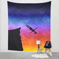 Cliff Dive Unicorn Wall Tapestry by That's So Unicorny