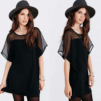 See Through Chiffon Mosaic Batwing Sleeve One Piece Dress [4915011460]