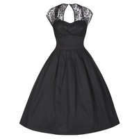 This lovely 50's inspired black dress features a sweetheart neckline with stretchy semi sheer lace detailing on top, key-hole back with single button closured, short cap sleeves, lined lace bodice, box pleated flare skirt, and finish with hidden back zip c