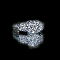2ct cushion radiant square center three stone ring 635R71302