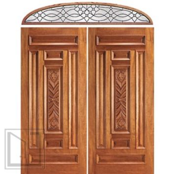 Pre-hung Entry Mahogany Carved 7 Panel Double Door Transom