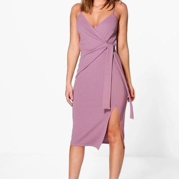 Perri Strappy Wrap & Tie Detail Midi Dress | Boohoo