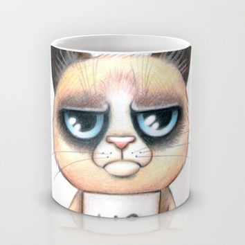 Grumpy cat Mug by Anna Syroed