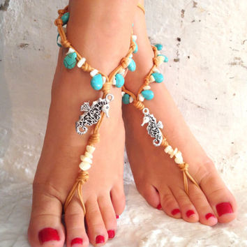 Barefoot sandals. beach sandal, beaded sandals, , sea horse  boho barefoot sandles, crochet barefoot sandals, , yoga, anklet  hippie shoes