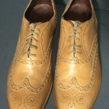 CHARLES TYRWHITT Brown Leather Wingtip Oxford Brown Shoes Size 11