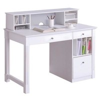 Multipurpose Deluxe Wood Desk with Hutch-White