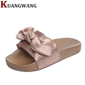 Silk Bow Slides Women Summer Slides Pink Silk Bow Slippers Flat Heel Flip Flops Female Ladies Sandals Rihanna Style