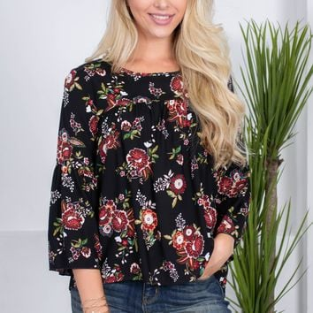Flora Black Babydoll Top