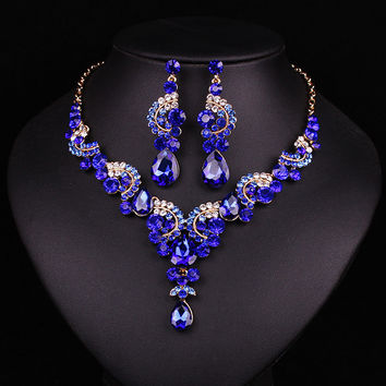 New fashion wedding Blue Sapphire rhinestone jewelry set brides bridesmaid or prom party gold plated necklace earring set women