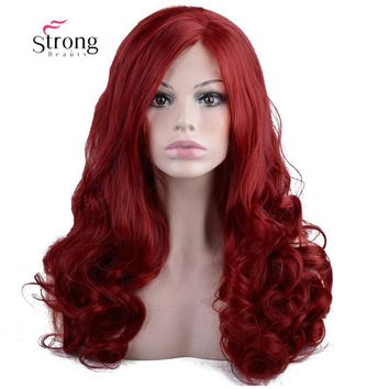 Wine Red Synthetic Hair Lace Front Wigs For Cosplay Masque Party Women's Long Wavy Glueless Lace Wig 22 inch
