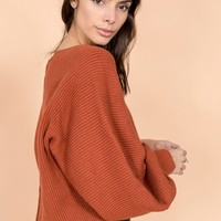 Aim To Sleeve Knit Sweater in Caramel