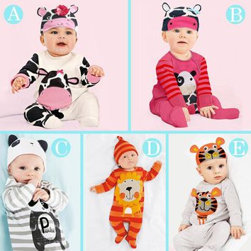 Hooyi Animal Baby Clothes Sets Bebe Boys Girls Romper+Hat Suit Jumpsuit Long Pajamas Rompers Costumes Outfits