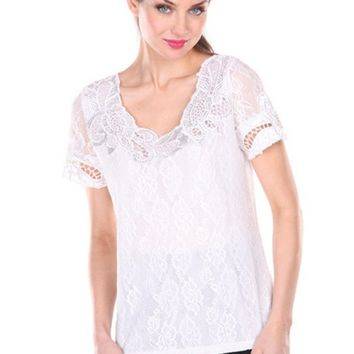 Round Neck Lace Top With Short Sleeves And Beading On Neck Black