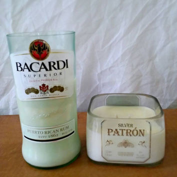 "Bacardi Puerto Rican Rum and Patron Tequila Silver Soy Candle ""Cool as a Cucumber"" Set- 2 candles"