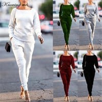 Knowing me Autumn Casual Knitted Tracksuit set Women Solid 2 Piece set Sportswear 2018 winter Top Shirts Sweatshirt Tops+Pants