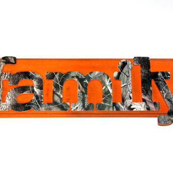 Family Camo Wooden Wall Sign hand painted hunter's orange and Distressed RealTree decoupage