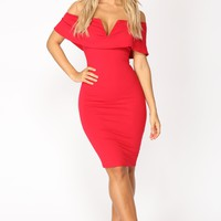 Lyla Off Shoulder Dress - Red