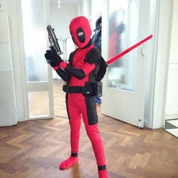 Cool KIds halloween Deadpool Costume Red full body spandex Boy Deadpool Cosplay Costumes Two style deadpool costume  For Kids