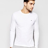 Tommy Hilfiger Flag Long Sleeve Top In Organic Cotton In Muscle Fit at asos.com