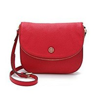 Tory Burch Women's Robinson Pebbled Messenger Bag, Kir Royale, One Size