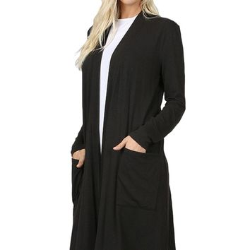 Open Cardigan with Slouchy Pockets