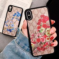 GUCCI New Popular Couple Floral Print Mobile Phone Cover Case For iphone 6 6s 6plus 6s-plus 7 7plus 8 8plus X XSMax XR