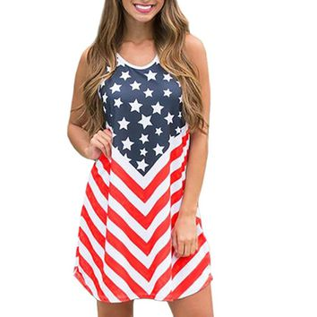 Stars And Chevron Stripes Flag Dress Adult