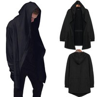 Men's Cardigan Hooded Long Sleeve Coats Jackets ninja goth gothic punk hoodie Black Casual Winter Autumn Clothes M-XXL